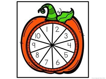 Kindergarten Pumpkin Math Center - Spin and Trace
