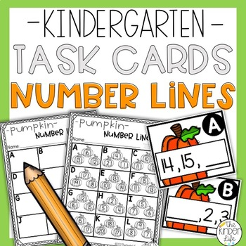 Kindergarten Pumpkin Task Cards Number Line 1-20 Count Match and Write