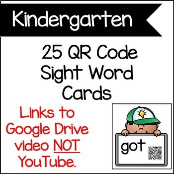 Kindergarten QR Code Sight Word cards | Audio and Video Sight Words
