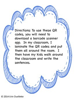 Kindergarten: QR Code Write the Room