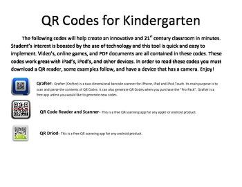 Kindergarten QR Codes