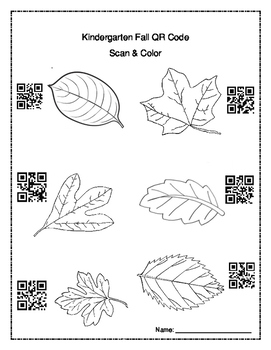 Kindergarten QR Codes - Coloring Fall leaves