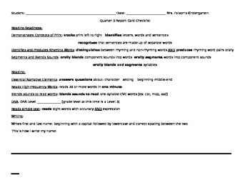 Kindergarten Quarter 3 Assessment / Report Card