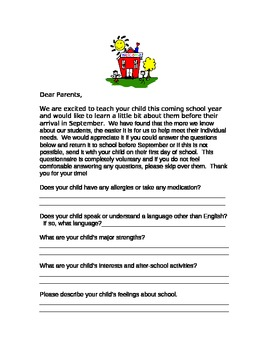 Kindergarten Questionaire for Parents