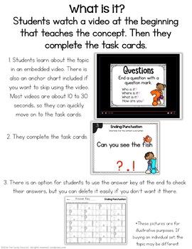Kindergarten Questions & Telling Sentence Digital Task Cards for Google™ Use