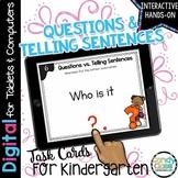 Asking & Telling Sentences Activity for Kindergarten Google Classroom Use