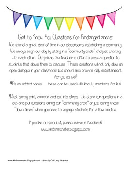 Kindergarten Questions to Establish Community