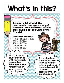 Kindergarten Quick Assessments: ELA (Foundational Skills)