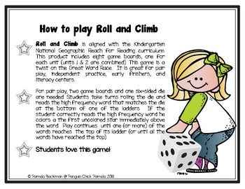 Kindergarten ROLL & CLIMB HFW GAME Fully Aligned with REACH FOR READING