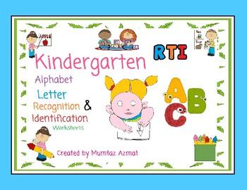 Kindergarten RTI Alphabet Letters A-Z Worksheets: