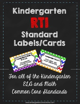 Kindergarten RTI CCSS Labels & Cards
