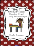 Kindergarten RTI Reading Street Daily Review Pages Unit 1