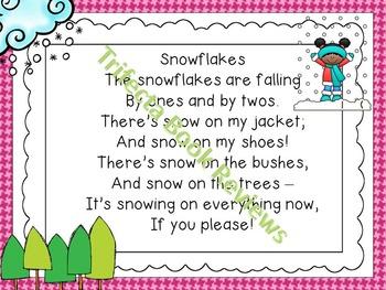 Kindergarten RTI:  Snowflakes Rhyme and Activities