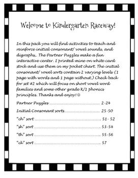 Kindergarten Raceway Phonics Pack 1