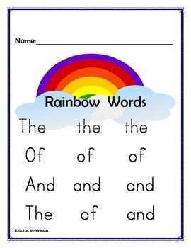 Kindergarten Rainbow Tracing Sight Words