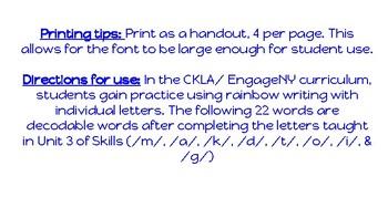 Kindergarten Rainbow Words, CKLA Skills Unit 3