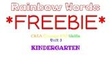 Kindergarten Rainbow Words, CKLA Skills Unit 3 FREEBIE