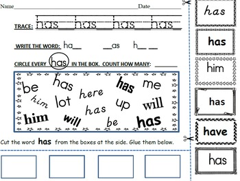 Kindergarten Rainbow Words Writing and Recognition Intervention Activites