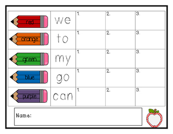 Kindergarten Rainbow Write Sight Words