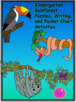 Kindergarten Rainforest Puzzles, Writing, and Pocket Chart Activities