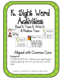 Kindergarten-Read, Trace, & Write- Wonders Series Sight Words