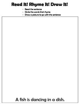 Kindergarten: Read, Write, Draw - Rhyming 3 (a fish is swimming in a dish)