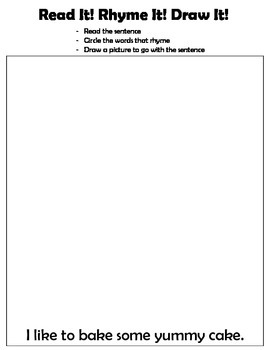 Kindergarten: Read, Write, Draw - Rhyming 5 (I like to bake some yummy cake)