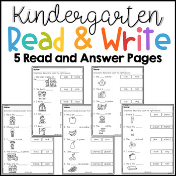 Kindergarten Read and Write Set 1