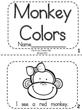 Kindergarten Reader Color Words - Monkey Unit