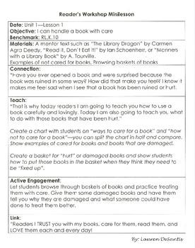 Kindergarten Reader's Workshop Mini Lessons Unit 1-Launching