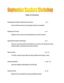 Kindergarten Reader's Workshop - Overview and September Plans