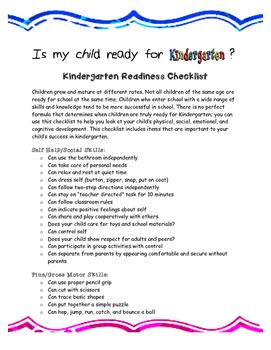 photo relating to Kindergarten Readiness Checklist Printable known as Kindergarten Readiness Listing Worksheets Training