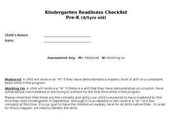image about Kindergarten Readiness Checklist Printable titled Kindergarten Readiness List Worksheets Training