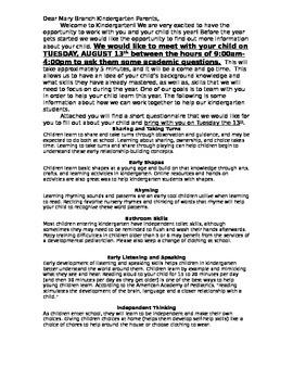 Kindergarten Readiness Checklist for Parents and Teachers