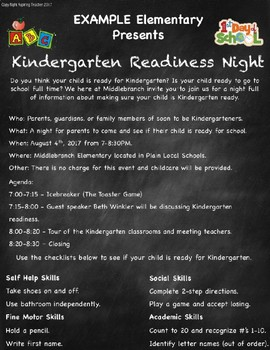 Kindergarten Readiness Flyer | EDITABLE