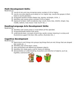 Kindergarten Readiness Handout for Parents