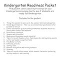 Kindergarten Readiness Packet