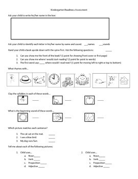Kindergarten Readiness Packet with Activities and Assessment