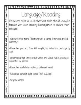 Kindergarten Readiness Packet- Skills to Practice for Kindergarten