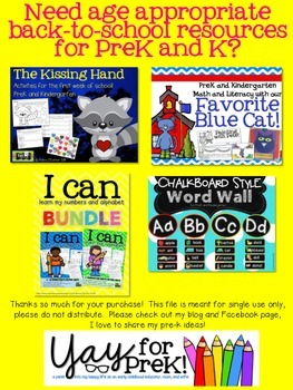 Kindergarten Readiness Packet - preschool, pre-k, kindergarten summer practice