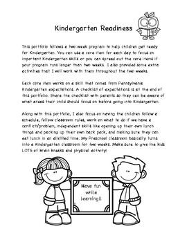 Kindergarten Readiness Portfolio and Checklist