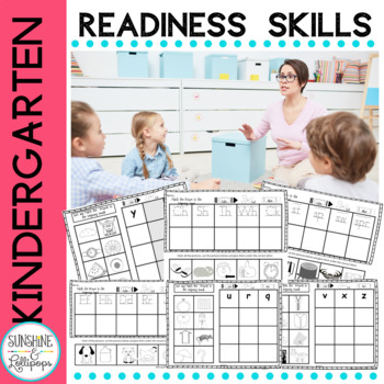 Kindergarten Readiness Activities Trace, Color, Cut & Glue No Prep
