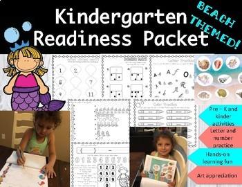 Kindergarten Readiness Pre-K Packet- Beach Themed