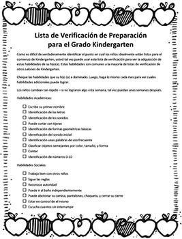 Kindergarten Readinesss Checklist SPANISH Verificacion Pre
