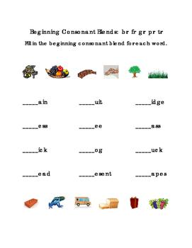 Kindergarten Reading Beginning Consonants Blends Write Letters BR FR GR PR TR