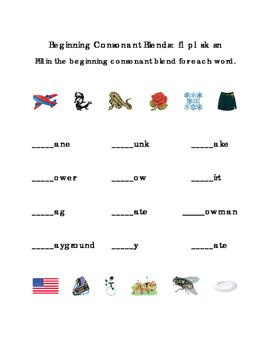 Kindergarten Reading Beginning Consonants Blends Write Letters FL PL SK SN