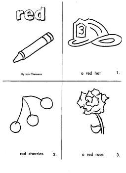 """Kindergarten Reading Book #2  """"Red"""""""