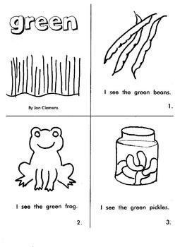 """Kindergarten Reading Book #4   """"Green"""""""
