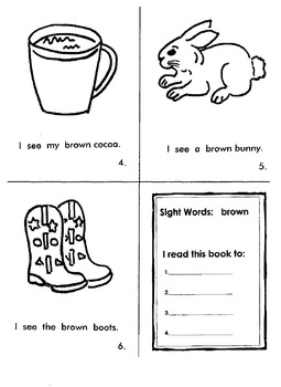 "Kindergarten Reading Book #7    ""Brown"""