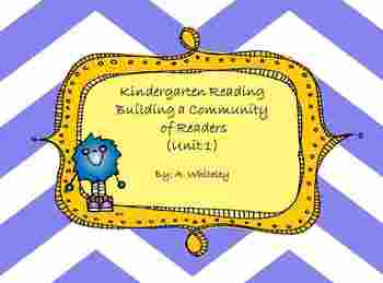 Kindergarten Reading Building a Community  of Readers (Unit 1)